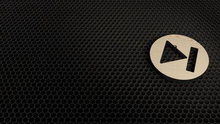 laser cut plywood 3d symbol of skip symbol in circle render on metal honeycomb inside laser engraving machine background