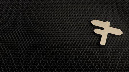 laser cut plywood 3d symbol of three maps signs on stick render on metal honeycomb inside laser engraving machine background Stock fotó