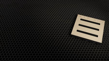 laser cut plywood 3d symbol of three lines in square menu render on metal honeycomb inside laser engraving machine background