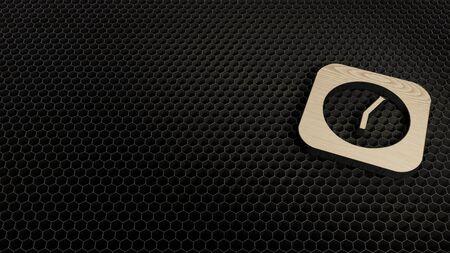 laser cut plywood 3d symbol of rectangle alarm clock render on metal honeycomb inside laser engraving machine background