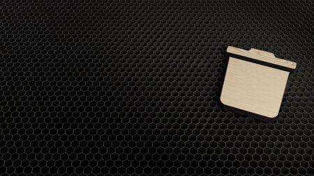 laser cut plywood 3d symbol of trash bin render on metal honeycomb inside laser engraving machine background