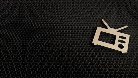 laser cut plywood 3d symbol of old television render on metal honeycomb inside laser engraving machine background