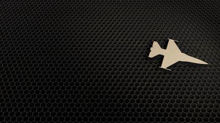 laser cut plywood 3d symbol of fighting falcon fighter jet render on metal honeycomb inside laser engraving machine background