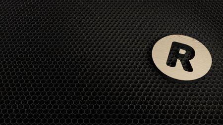 laser cut plywood 3d symbol of letter r in circle render on metal honeycomb inside laser engraving machine background