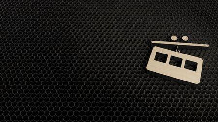 laser cut plywood 3d symbol of tram from side view render on metal honeycomb inside laser engraving machine background