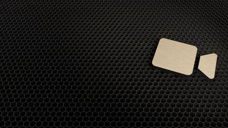 laser cut plywood 3d symbol of camera   render on metal honeycomb inside laser engraving machine background Banco de Imagens