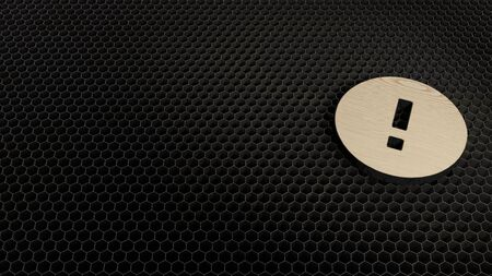 laser cut plywood 3d symbol of exclamation mark in circle render on metal honeycomb inside laser engraving machine background