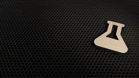 laser cut plywood 3d symbol of chemistry flask render on metal honeycomb inside laser engraving machine background