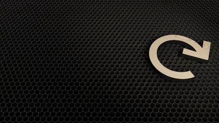 laser cut plywood 3d symbol of redo circle arrow render on metal honeycomb inside laser engraving machine background