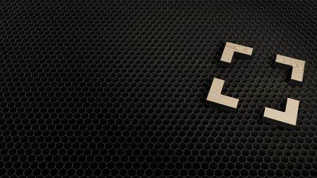 laser cut plywood 3d symbol of expand frame marks render on metal honeycomb inside laser engraving machine background