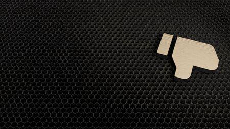 laser cut plywood 3d symbol of thumbs down render on metal honeycomb inside laser engraving machine background Reklamní fotografie