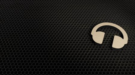 laser cut plywood 3d symbol of music headphones render on metal honeycomb inside laser engraving machine background Stockfoto - 129941009