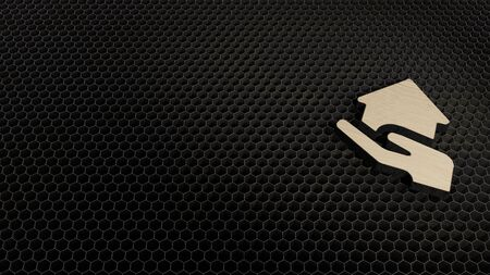 laser cut plywood 3d symbol of house in hand render on metal honeycomb inside laser engraving machine background Archivio Fotografico - 129941165