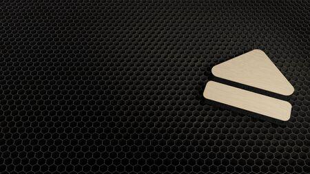 laser cut plywood 3d symbol of eject symbol render on metal honeycomb inside laser engraving machine background Stock Photo