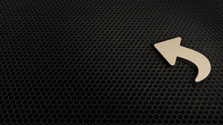 laser cut plywood 3d symbol of reply sign render on metal honeycomb inside laser engraving machine background