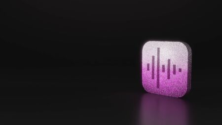glitter pink silver icon of voice memos app in  style 3D rendering on black background with blurred reflection with sparkles Stock fotó