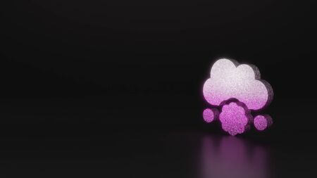 glitter pink silver symbol of cloud falling meatball 3D rendering on black background with blurred reflection with sparkles