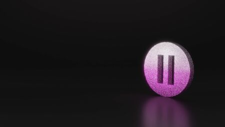 glitter pink silver symbol of thin iverted pause symbol in circle 3D rendering on black background with blurred reflection with sparkles