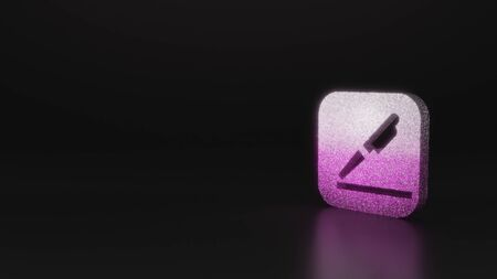 glitter pink silver symbol of pen and surface line in rounded square 3D rendering on black background with blurred reflection with sparkles Stock Photo