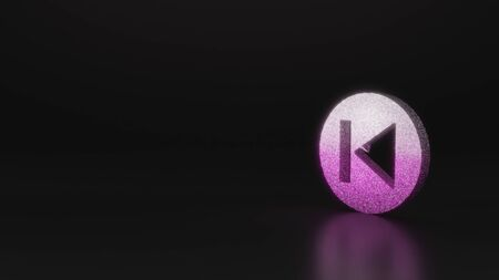 glitter pink silver symbol of previous button 3D rendering on black background with blurred reflection with sparkles