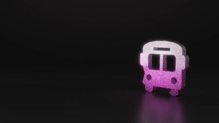 glitter pink silver symbol of bus 3D rendering on black background with blurred reflection with sparkles