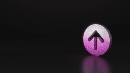 glitter pink silver symbol of open down rounded arrow in circle 3D rendering on black background with blurred reflection with sparkles