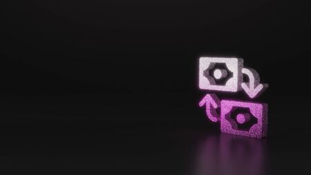 glitter pink silver symbol of banknotes and arrows in cycle  3D rendering on black background with blurred reflection with sparkles
