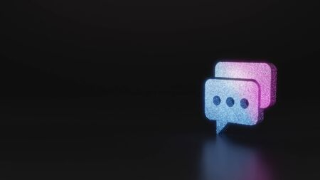 glitter neon violet pink ombre symbol of two rectangular rounded chat bubbles with three dots 3D rendering on black background with blurred reflection with sparkles