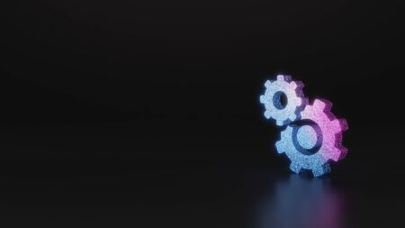 glitter neon violet pink ombre symbol of cogwheel covers bigger cogwheel 3D rendering on black background with blurred reflection with sparkles
