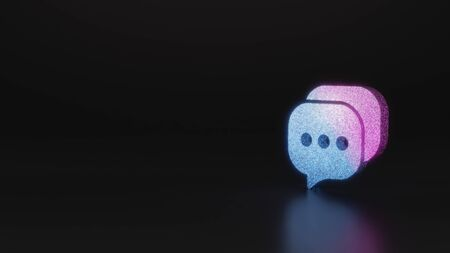 glitter neon violet pink ombre symbol of two rectangular rounded chat bubble with three dots 3D rendering on black background with blurred reflection with sparkles