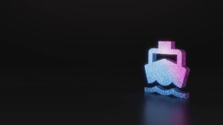 glitter neon violet pink ombre symbol of front view of boat 3D rendering on black background with blurred reflection with sparkles