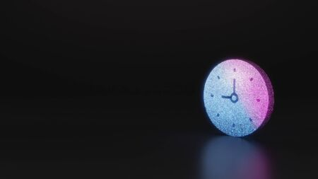 glitter neon violet pink ombre symbol of wall clock 3D rendering on black background with blurred reflection with sparkles Stockfoto