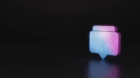 glitter neon violet pink ombre symbol of two rectangular chat bubbles 3D rendering on black background with blurred reflection with sparkles