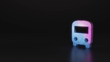 glitter neon violet pink ombre symbol of front view of a bus 3D rendering on black background with blurred reflection with sparkles