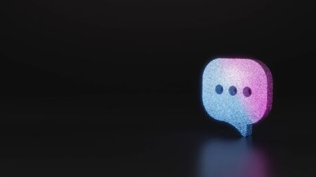 glitter neon violet pink ombre symbol of rectangular rounded chat bubble with three dots 3D rendering on black background with blurred reflection with sparkles