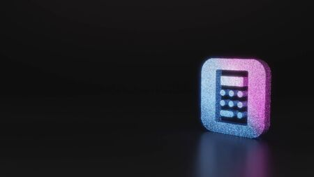 glitter neon violet pink ombre icon of calculator app in style 3D rendering on black background with blurred reflection with sparkles