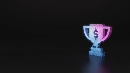 glitter neon violet pink ombre symbol of award cup with dollar sign 3D rendering on black background with blurred reflection with sparkles
