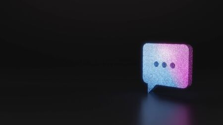 glitter neon violet pink ombre symbol of rectangular chat bubble with rounded corner and three dots 3D rendering on black background with blurred reflection with sparkles