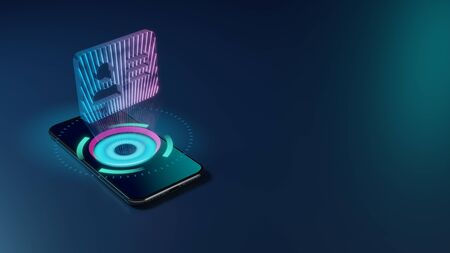 3D rendering smartphone with display emitting neon violet pink blue holographic inverted symbol of address card with person and lines icon on dark background with blurred reflection