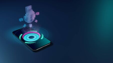 3D rendering smartphone with display emitting neon violet pink blue holographic symbol of bulb with rays icon on dark background with blurred reflection