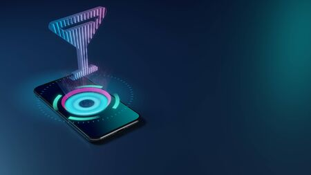3D rendering smartphone with display emitting neon violet pink blue holographic symbol of full martini glass icon on dark background with blurred reflection
