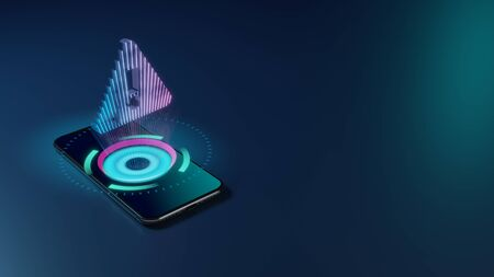 3D rendering smartphone with display emitting neon violet pink blue holographic symbol of exclamation symbol in triangle icon on dark background with blurred reflection Foto de archivo