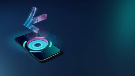 3D rendering smartphone with display emitting neon violet pink blue holographic symbol of arrow left icon on dark background with blurred reflection 版權商用圖片