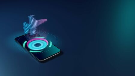 3D rendering smartphone with display emitting neon violet pink blue holographic symbol of fighting falcon fighter jet icon on dark background with blurred reflection