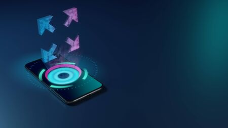 3D rendering smartphone with display emitting neon violet pink blue holographic symbol of expand arrows icon on dark background with blurred reflection