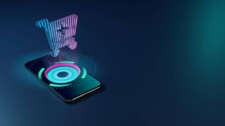 3D rendering smartphone with display emitting neon violet pink blue holographic symbol of cart plus icon on dark background with blurred reflection Reklamní fotografie