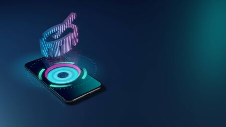 3D rendering smartphone with display emitting neon violet pink blue holographic symbol of drum and stick icon on dark background with blurred reflection