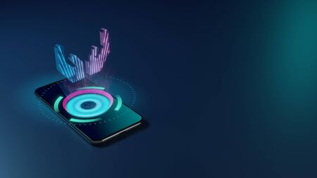 3D rendering smartphone with display emitting neon violet pink blue holographic symbol of open hands icon on dark background with blurred reflection