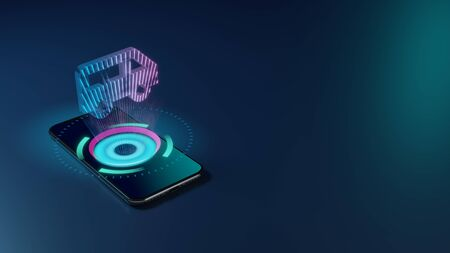 3D rendering smartphone with display emitting neon violet pink blue holographic symbol of side view of a bus icon on dark background with blurred reflection