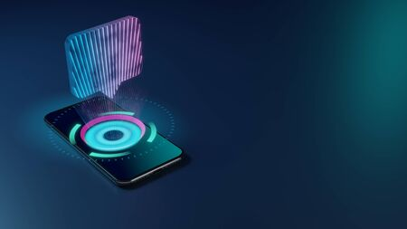 3D rendering smartphone with display emitting neon violet pink blue holographic symbol of rectangular chat bubble icon on dark background with blurred reflection Stok Fotoğraf